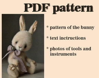 PDF teddy bear pattern download to create Teddy Bear stile Artis Rabbit Tommy 10 inch handmade collectible  Teddy Bear  Bunny sewing pattern