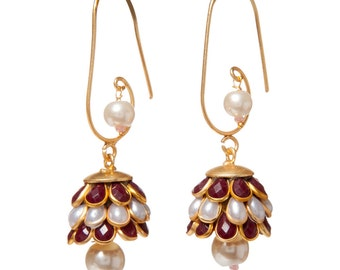 Artisan Made Floral Cluster Paachi Earrings - Red/White