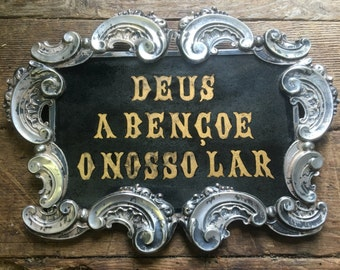Silver glass and oak god bless our home sign ! From Portugal  !