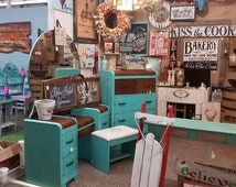 Turquoise Dresser, Painted Dresser, Waterfall Dresser, Turquoise Furniture, Waterfall Furniture, Painted Furniture,