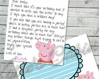 Peppa pig character birthday letter