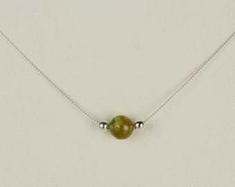 Sterling Silver Natural Peridot Single Bead Pendant