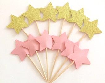 Pink and Gold Birthday Decorations - Glitter Gold Star Cupcake Toppers - Twinkle Twinkle Little Star -  Set of 12