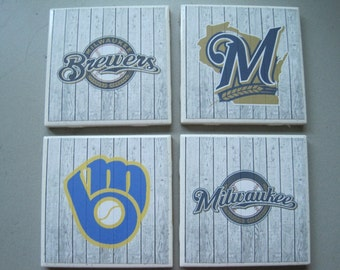 Milwaukee Brewers Themed Ceramic Tile Coasters - Set of 4