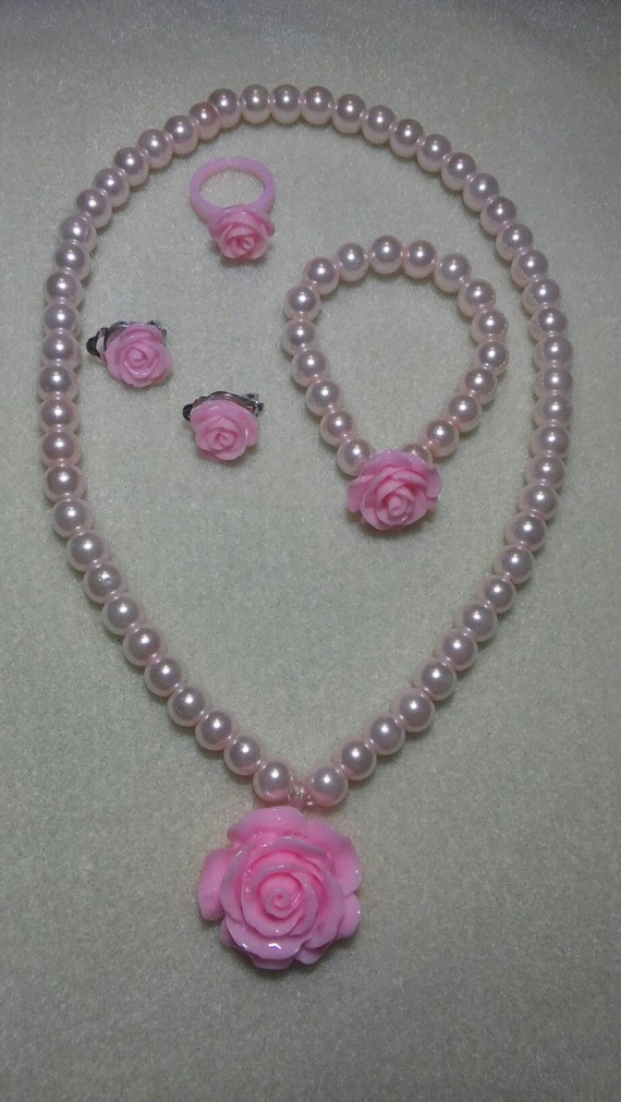 little girls jewelry set pink pearls pearls by. Black Bedroom Furniture Sets. Home Design Ideas
