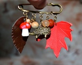 brooch pendants, brooch leaves maple leaf, mushroom, hedgehog, brooch leather, brooch bronze color, gift for womans,  brooch gift for mom