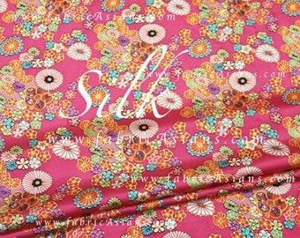 Sakura Fabric. Pink Floral Silk.  SSZ101407