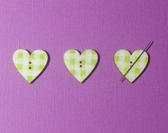 Lime Green Check Heart (#19)