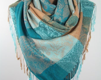 Pashmina Scarf Blue Beige Scarf Shawl Wedding Shawl Scarf wrap  Fashion Accessories Paisley Scarf  Gift for Her Holiday Gift