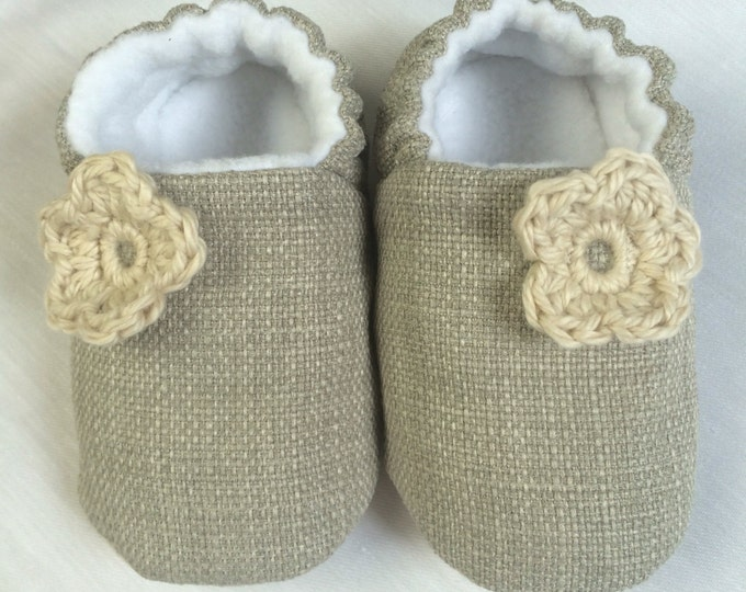 Grey linen soft sole baby shoe with crochet flower
