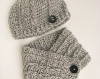 Little Girl's Cloche Hat and Cowl Set