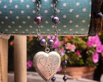 Darling sterling silver and purple fresh water pearl heart locket necklace