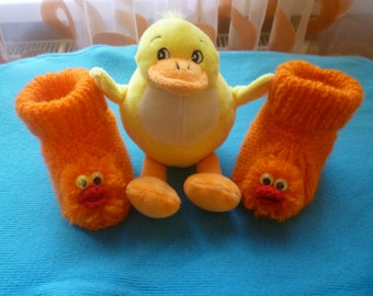 Duck baby booties, Knit Baby booties, knitted booties, knit Baby booties,  orange, baby shoes , knitted baby shoes, handmade, duck, ducky