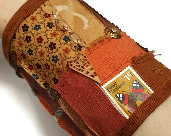 Orange and bronze steampunk cuff bracelet - suitable for all wrist size - fabric wrist cuff -fabric bracer - steampunk cuff -upcycled - OOAK