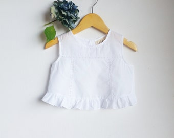 Girls Handmade Vintage look White ' DAISY ' Ruffle Lace Top Open-back