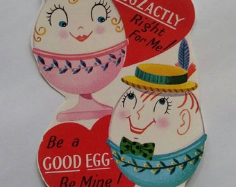Vintage kitsch cute egg cups Valentine's card sticker