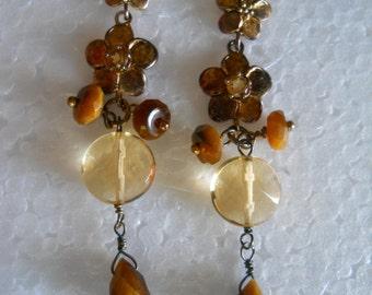 Beaded Earrings, Drop Earrings, Tigereye Beads, Fashion Jewelry, Kate Landry