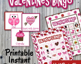 Valentines Day Bingo Printable PDF - 30 different Cards - Half Page Size - Valentines Memory Game - Party Game Printable - INSTANT DOWNLOAD