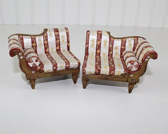 Red Stripe Sectional Dollhouse Couch