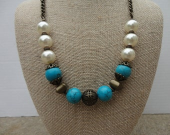 Swarovski Glass Pearl, Torquoise Gemstone and Antique Gold Chain Necklace