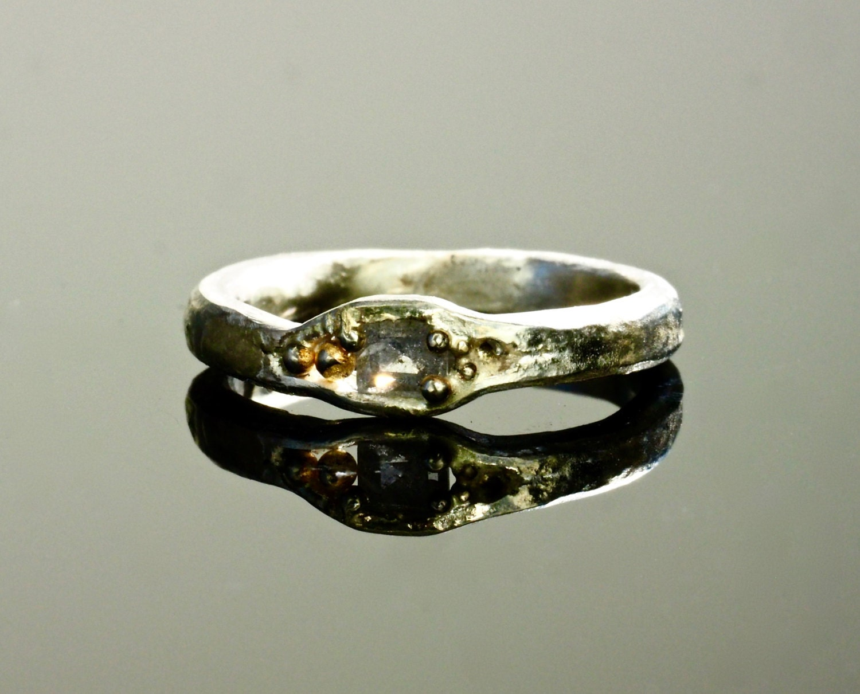 asscher cut wedding band engagement ring with 18k
