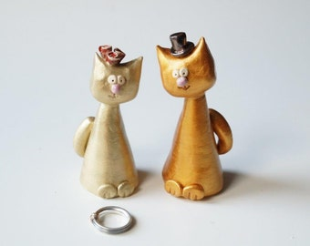 Gold Wedding Cake Topper, Golden Cat, Cat Cake Topper, Wedding Cake Topper, Wedding Cake Decor, Cat Couple, Handpainted Cake Topper