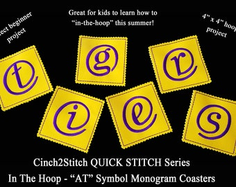 """Quick Stitch """"AT"""" Symbol Monogram Coasters - In The Hoop - Machine Embroidery Design Download (4"""" x 4"""" Hoop), Recycled denim or vinyl"""