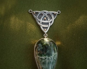 Silver and gold celtic Triquetra knot and seraphinite necklace