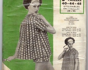 Vintage French Ladies Suit Pattern, Modes & Travaux, Making and Decoupage