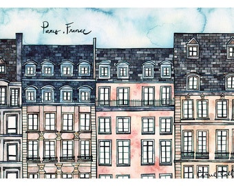 PARIS FRANCE Print 8x12 Ink and Watercolor Painting