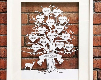 Family tree papercut a4 personalised papercutting A4 or A3