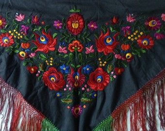 Vintage Matyó hungarian black colorful hand embroidered scarf silk flower