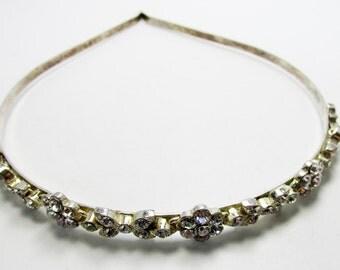 Vintage 1960s Silver Toned Rhinestone Headband