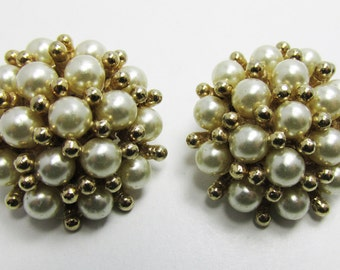 Vintage 1950s Signed Marvella Gold Toned Faux Pearl Earrings