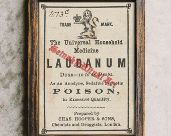 Laudanum label print, vintage poison poster, witchcraft, witch art, witchy home decor, gothic wall art, mysticism, witch #379