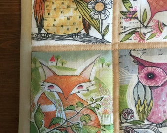 Handmade woodland creatures quilt