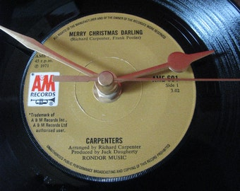 "The Carpenters merry christmas darling   7"" vinyl record clock"