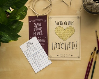 Literary Wedding Invitation Set // Customizable // Library Card RSVP Love Story Book Lover Rustic Vintage Gettin' Hitched Themed Invites