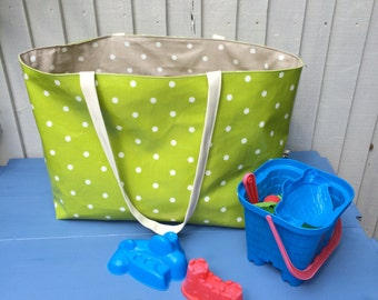 Large Beach Bag, green polka dots oilcloth fabric, unique lime green beach tote, college student shoulder bag, reversible large hand luggage