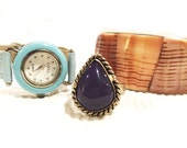 Vintage bracelet, blue watch and purple ring gift trio