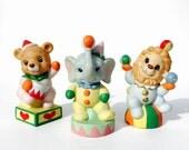 SALE Retro/Vintage 1980s - 80s - Homeco circus performer figurines - bear, lion, elephant SET of THREE
