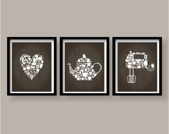 Kitchen decor - Kitchen wall art - Kitchen print - Kitchen art - Kitchen art set - Kitchen poster - Tea Pot - Mixer - Heart - Kitchen 3 SET
