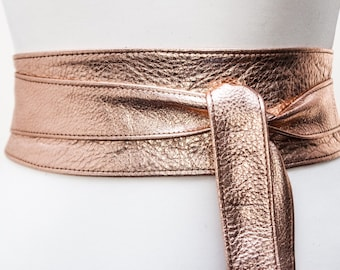 Rose Gold Leather Obi Belt | Rose Gold Sash Belt | Leather tie belt | Leather wrap Belt | Bridesmaid Belt | Waist Belt | Plus Size Accessory
