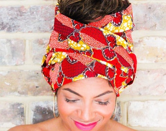 Ankara Red Turban Wax | African Wax print Head wrap | Print headscarf | African wax print material | Turban Wrap | Scarf | Print 23