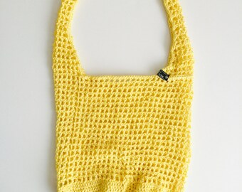 Crochet Cotton Market Bag | Yellow | iBag - Market