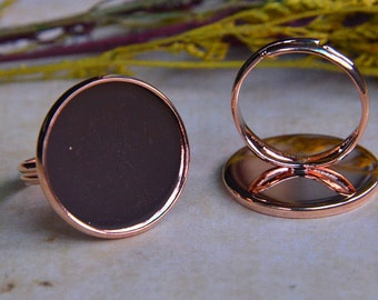 5 pcs  Ring Blanks  20mm Antique rose gold Adjustable Blank  Cabochon Bases (T134)