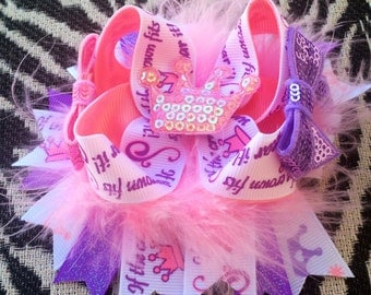 OOAK OTT Princess Pink and Purple Boutique Hairbow- Ready To Ship