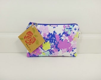 Floral Small Cosmetic Bag, Small Pouch, Makeup Bag, Small Pouch Purse, Small Cosmetic Pouch, Zipper Pouch, Makeup Pouch