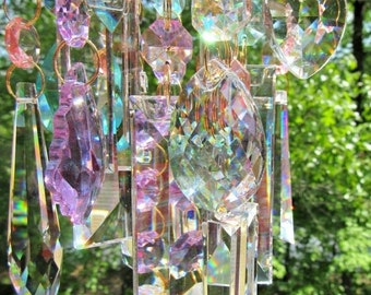 Crystal Wind Chime, Crystal Sun Catcher, Glass Wind Chime, Garden Décor, House Warming Gift, Gift for Her, Garden Accent, WC 110
