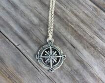 Compass Necklace, Charm Necklace,  explore Necklace, travel Charm
